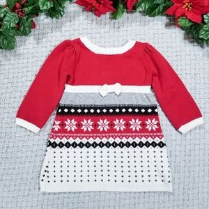 Gymboree baby girl warm red snowflake sweater dres